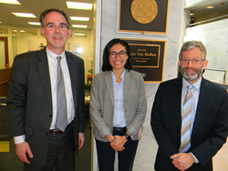 Michael Buckley (BrightFocus Foundation), left and Ben Shaberman (Foundation Fighting Blindness) with Melissa Guerrero, office of Senator Chris Van Hollen (D-MD), a Senate Appropriations Committee member