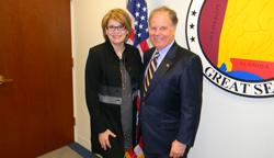 Torrey DeKeyser (Eyesight Foundation of Alabama) with Senator Doug Jones (D-AL), who serves on the Senate Health, Education, Labor & Pensions Committee, which has oversight over the NIH