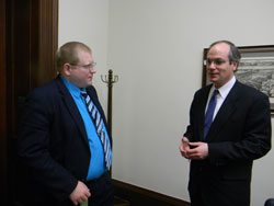 Left to right: Doug Hartman from the office of Senator Robert Casey meets with Dr. Wollstein prior to attending the briefing