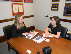 Lindsay Rhoades, M.D. (University of Alabama at Birmingham) meets with Jen Deci in the office of Senator Richard Shelby (R-AL), a member of the Senate Labor, Health and Human Services, and Education (LHHS) Appropriations Subcommittee who previously served as its Ranking Member. Dr. Rhoades worked on Capitol Hill for Senate Majority Leader Harry Reid (D-NV) prior to attending medical school.