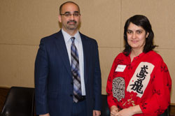 Dr. Kahook with Fauzia Khan, M.D., a Health Policy Fellow in the office of Cong. Diana DeGette (D-CO), which he visited that morning under the auspices of NAEVR. Cong. DeGette serves on the House Energy & Commerce Committee, which has authorizing authority over the National Institutes of Health (NIH).
