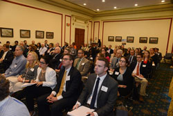 The packed room of attendees reflected Congressional staff, representatives from the sponsoring organizations, and AEVR's 21 Emerging Vision Scientists
