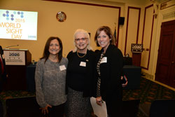 Left to right: Dr. Block with Briefing sponsors Victoria Sheffield (International Eye Foundation and Maureen Cavanagh (Vision Impact Institute)
