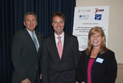 Left to right: AEVR's James Jorkasky, Hendrik Scholl, M.D. (Wilmer Eye Institute/Johns Hopkins University), and the AMD Alliance International's Allie Laban-Baker, a briefing co-sponsor