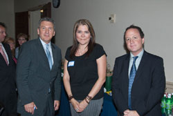 Left to right: AEVR's James Jorkasky, attendee Sonia Villegas, Ph.D. (ISTA Pharmaceuticals, Inc.), and NAEVR's David Epstein