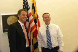 Prior to the briefing, Dr. Scholl met with Maryland delegation Congressional offices, including that of Cong. Chris Van Hollen (D-MD), in whose district the NIH is located. Dr. Scholl described in detail for Legislative Assistant Ray Thorn the differences between European and U.S. biomedical research funding mechanisms.