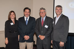 Left to right: Jenny Wilson (Moran Eye Center, University of Utah), Dr. Hageman, Michael Duenas, O.D. (American Optometric Association), and Matt McMahon (Senior Advisor for Translational Research, National Eye Institute)