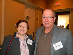 Left to right: Martine Jager, M.D., Ph.D. (Leiden University Medical Center, The Netherlands) and Craig Crosson, Ph.D. (Medical University of South Carolina), who is a NAEVR Board member