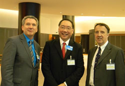 James Jorkasky with speaker and Incoming ARVO President Peng Khaw, M.D., Ph.D. and Anthony Moore, M.D. both of whom are from the Moorfields Eye Hospital/University College of London Institute of Ophthalmology). Dr. Moore coordinated the EuroVisionNet's EU event.