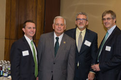 From left: Dr. Ciolino, Cong. Gene Green (D-TX), NAEVR Executive Director James Jorkasky, and ARVO Board President John Clark, Ph.D. (University of Washington)