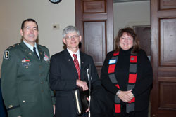 Left to right:  Colonel Gagliano with Tom Zampieri, Ph.D., of Blinded Veterans Association (BVA) and Kathleen Terlizzese of TBI/Tissue Banks International.  BVA, which has been an ardent voice for the creation of the VCE and the dedicated PRMR-Vision line item, has coordinated support for these initiatives with the Veterans Service Organizations (VSOs).