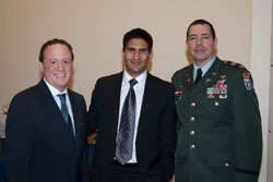 Left to right:  NAEVR Advocacy Manager David Epstein with Chris Gaspar from the office of Cong. James Moran (D-VA) and Colonel Gagliano. Cong. Moran, a defense appropriator, was a lead champion for the creation of the dedicated Peer Reviewed Medical Research-Vision line item in Fiscal Year 2009 appropriations, funded at $4 million.