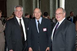 Left to right: NAEC Members Scott Cousins, M.D. (Duke University Eye Center) and Charles Gilbert, M.D., Ph.D. (Rockefeller University) with Dr. Sieving