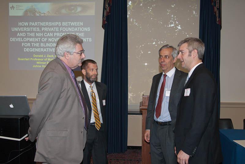 Left to right: Dr. Rose, FFB's Ben Shaberman, Dr. Zack, and National Eye Institute (NEI) Senior Advisor for Translational Research Matthew McMahon, Ph.D.