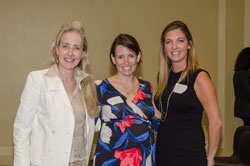 Susan Stone, JD (left) and Maria Zanardo, both from Allergan, with Ali Manson (American Optometric Association)