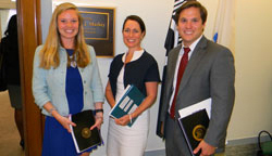 Amy Gallant Sullivan, center, with Nikki Hart and Jeremy D'Aloisio, from the office of Sen. Edward Markey (D-MA)