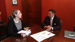 Dr. Karpecki, right, meets with Amy Nabozny, from the office of Senate Majority Leader Mitch McConnell (R-KY)