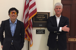 Left to right: Blinded veteran Steven Baskis (U.S. Army Private First Class, retired) joined ARVO President Steven J. Fliesler, PhD (SUNY-Buffalo/VA Medical Center-Buffalo) outside the office of Cong. Charlie Crist (R-FL), a new member of the House Defense Appropriations Subcommittee, during Congressional visits to advocate for military eye trauma research funding