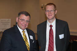 Left to right: Scott Christensen (The Glaucoma Foundation) with Guy Eakin, Ph.D. (American Health Assistance Foundation)