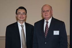 Left to right: Featured speakers clinician scientist Arthur Sit, S.M., M.D. (Mayo Clinic) and glaucoma patient Jerry Duvall, a telecommunications economist