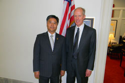 After the Briefing, Dr. Holland met with Cong. Ted Lieu (D-CA) to describe his research