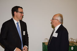 Brion Raymond (XOMA Corporation) with J. Michael Quinlan, a Board member of the American Autoimmune Related Disease Association, a briefing co-sponsor