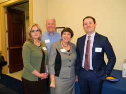 From left: AEVR Briefing co-sponsors ARVO and Eye Bank Association of America, represented by Iris Rush and Kevin Corcoran/Jennifer DeMatteo, respectively, with Scott Haber (American Academy of Ophthalmology)