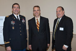 Left to right: Colonel Don Gagliano, M.D., Director of the Joint DOD/Department of Veterans Affairs (VA) Vision Center of Excellence (VCE) who provided a welcome, with Dr. Weiland and Robert Read of DOD's Telemedicine and Advanced Technology Research Center (TATRC)
