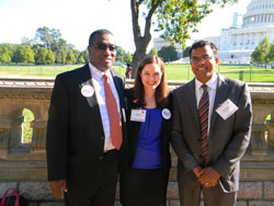 NAEVR co-hosted the Texas delegation, which included retinal regeneration researcher Sai Chavala, M.D. (University of North Texas Health Science Center), right, bone researcher Babatunde Oyajobi, Ph.D. (University of Texas Health Science Center at San Antonio) representing the American Society for Bone and Mineral Research, left, and Lisa Hall, patient advocate for the Pulmonary Fibrosis Foundation, center