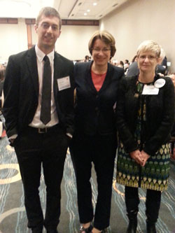 Senator Amy Klobuchar (D-MN, center) and Adiv Johnson, Ph.D. and Toni Kay Mangskau, both from Mayo Clinic