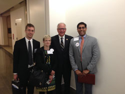 Cong. Tim Walz (D-MN, center) with Dr. Johnson, Ms. Mangskau and Mustaqeem Siddiqui, M.D., all from the Mayo Clinic. Cong. Walz, the highest ranking enlisted soldier to ever serve in Congress, has  championed the $10 M Vision Trauma Research Program (VTRP) budget line in Defense appropriations.