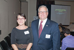 Vision writer Elaine Richman with Mark Ackermann, President and CEO of Lighthouse International, a briefing co-host