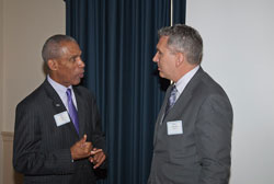 Louis Tutt, Executive Director of the Association for Education and Rehabilitation of the Blind and Visually Impaired, speaks with AEVR Executive Director James Jorkasky
