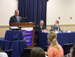 Congressman Gene Green (D-TX), co-chair of the Congressional Vision Caucus, welcomed attendees as Lighthouse International President and CEO Mark Ackermann and Dr. Bressler look on
