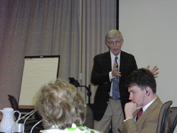 NIH Director Francis Collins, M.D., Ph.D. speaks to the SMRB