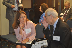 Jo Olson (ARVO), a member of AEVR's Working Group on the poll/fact sheet, with Paul D'Addario, a patient whose perspective is featured on the fact sheet