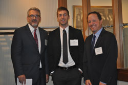 Adiv Johnson, Ph.D. (Mayo Clinic, center) with AEVR's James Jorkasky and David Epstein. Dr. Johnson participated in Minnesota Congressional office visits during the Rally for Medical Research Advocacy Day.