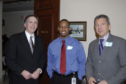 FFB Chief Executive Officer William Schmidt (left) and AEVR Executive Director James Jorkasky (right) with Schylr Greggs from the office of Cong. Pete Sessions (R-TX)