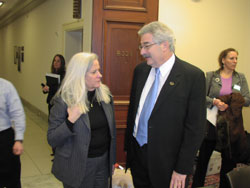 Moira Shea, a member of the FFB board who offered a firsthand account of living with Ushers syndrome, with Stephen Rose, Ph.D., FFB's Chief Research Officer
