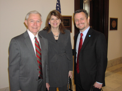 Senator Jeff Sessions (R-AL) greeted them in the hallway prior to a visit with his staff.