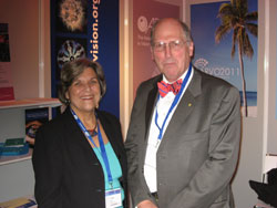 Ms. Angle with Hugh Taylor, M.D. (University of Melbourne), who is known for the groundbreaking work of his team in characterizing the economic burden of eye disease in Australia