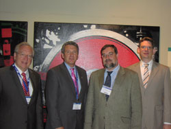 NAEVR's James Jorkasky (second left) with European Vision Institute (EVI) representatives Eberhart Zrenner, M.D., Thomas Wheeler-Schilling, Ph.D., and Philipp Hunger, all from the Institute for Ophthalmic Research at the University of  Tuebingen