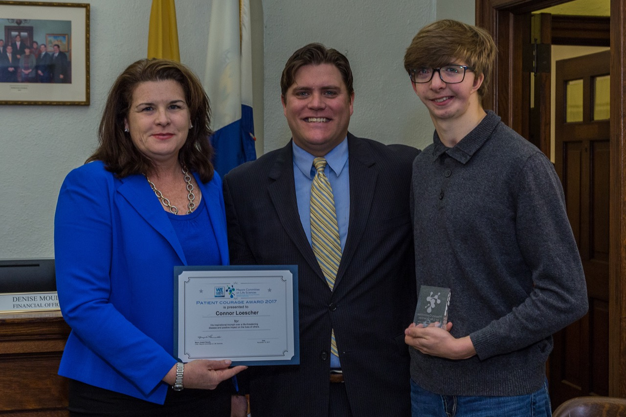 Congratulations to 16 year old Connor Loescher who was honored with the Mayors Committee on Life Sciences Patient Courage Award at the November 13 Borough Council Meeting in Merchantville, New Jersey.