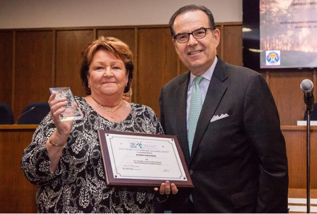 Congratulations to Karen Shepherd, who received the Mayor's Committee on Life Sciences Patient Courage Award at the August 14 Town Council meeting in Manchester, New Jersey.